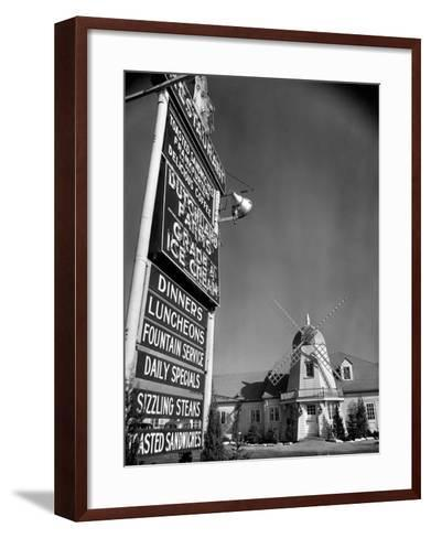Electric Sign in Front of Restaurant Featuring Dutch Windmill Theme on Roadside of US Highway 1-Margaret Bourke-White-Framed Art Print