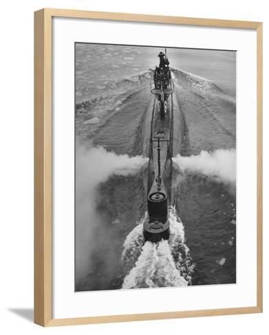 Submarine Roaring Through the Ocean-Dmitri Kessel-Framed Art Print