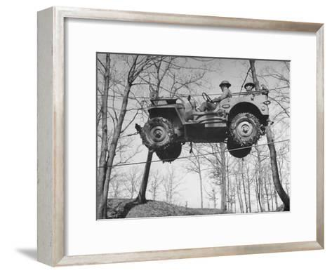 Group of Us Soldiers Pulling a Jeep over a Ravine Using Ropes while on Maneuvers-William C^ Shrout-Framed Art Print