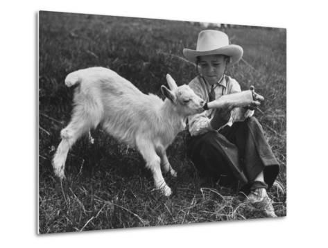 Little White Goat Being Fed from Bottle by Little Boy, at White Horse Ranch-William C^ Shrout-Metal Print