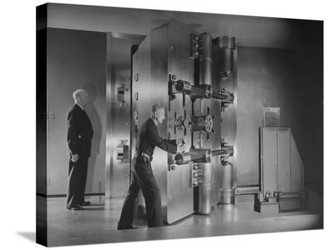 Guards Closing Bank Vault Door at Irving Trust Company-Herbert Gehr-Stretched Canvas Print