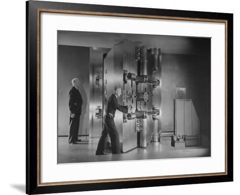 Guards Closing Bank Vault Door at Irving Trust Company-Herbert Gehr-Framed Art Print