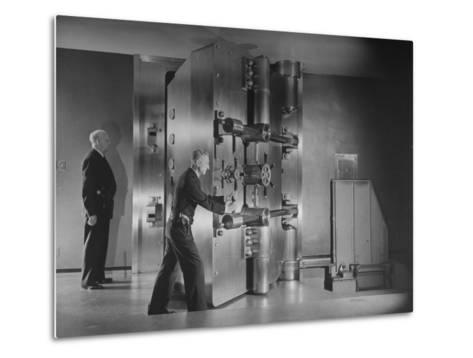 Guards Closing Bank Vault Door at Irving Trust Company-Herbert Gehr-Metal Print