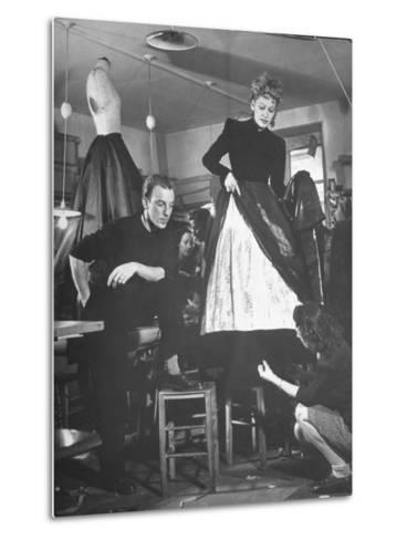 Jacques Fath Watching as the Tailor Hymns the Loose Ends at the Bottom of the Dress-Nina Leen-Metal Print