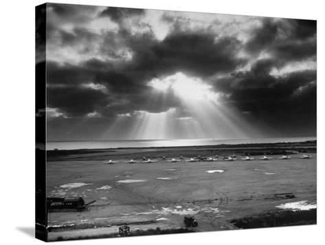 Sunset Breaking on Us Airbase across the East China Sea from Mainland China-Carl Mydans-Stretched Canvas Print