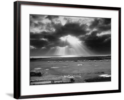 Sunset Breaking on Us Airbase across the East China Sea from Mainland China-Carl Mydans-Framed Art Print