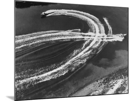 Aerial View of Waterskiers and Motorboats Speeding across the Pacific Ocean at Marine Stadium-Margaret Bourke-White-Mounted Photographic Print