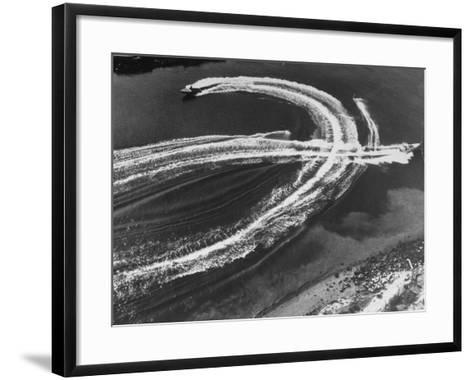 Aerial View of Waterskiers and Motorboats Speeding across the Pacific Ocean at Marine Stadium-Margaret Bourke-White-Framed Art Print