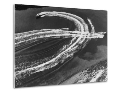 Aerial View of Waterskiers and Motorboats Speeding across the Pacific Ocean at Marine Stadium-Margaret Bourke-White-Metal Print