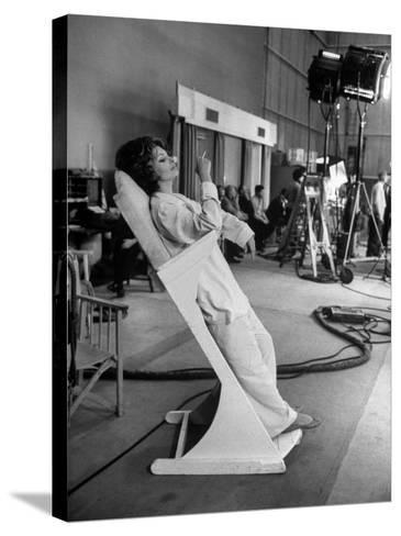 """Actres Sophia Loren, Resting Between Takes on Set of """"A Countess from Hong Kong,"""" Pinewood Studios-Alfred Eisenstaedt-Stretched Canvas Print"""