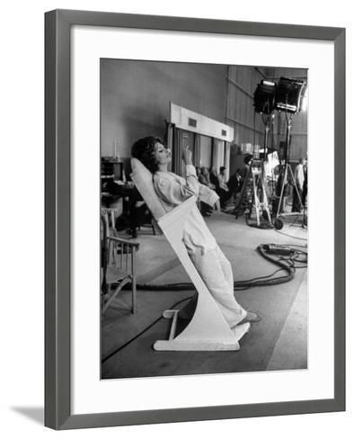 """Actres Sophia Loren, Resting Between Takes on Set of """"A Countess from Hong Kong,"""" Pinewood Studios-Alfred Eisenstaedt-Framed Art Print"""