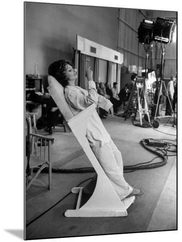 """Actres Sophia Loren, Resting Between Takes on Set of """"A Countess from Hong Kong,"""" Pinewood Studios-Alfred Eisenstaedt-Mounted Premium Photographic Print"""
