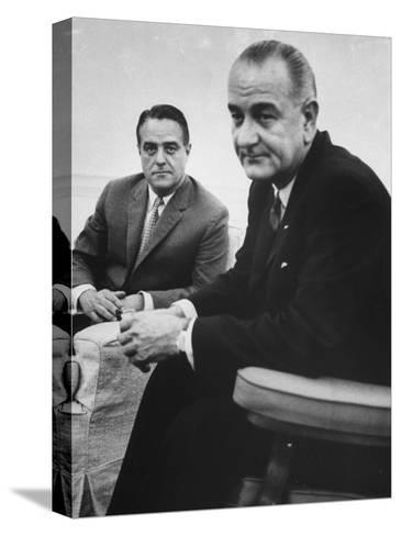 Peace Corp. Head Sargent R. Shriver Jr. and President Lyndon B. Johnson-John Dominis-Stretched Canvas Print