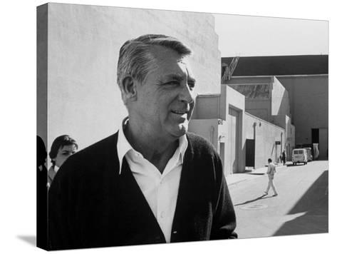 Actor Cary Grant on Lot at Universal Studio-John Dominis-Stretched Canvas Print