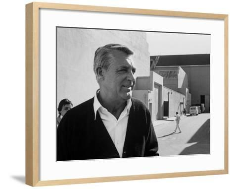 Actor Cary Grant on Lot at Universal Studio-John Dominis-Framed Art Print