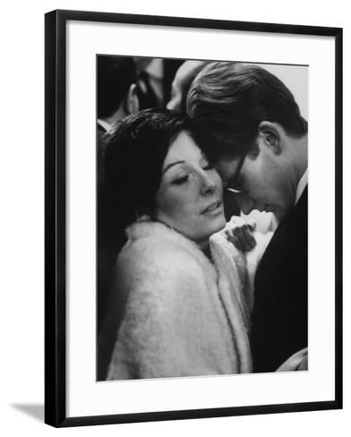 Dancer Renee Jeanmaire Embracing Yves Saint Laurent at Fashion Show-Paul Schutzer-Framed Art Print