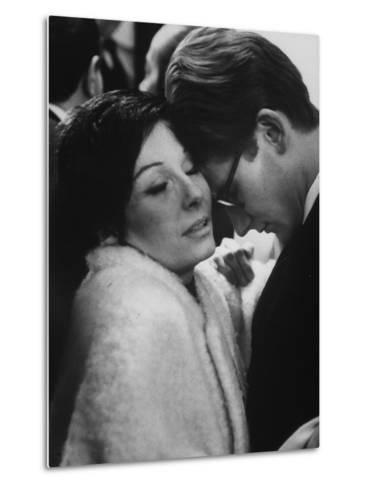 Dancer Renee Jeanmaire Embracing Yves Saint Laurent at Fashion Show-Paul Schutzer-Metal Print