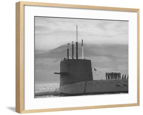 "Polaris Missile Sub ""Patrick Henry""Cruising on Clyde River on Patrol-John Dominis-Framed Art Print"