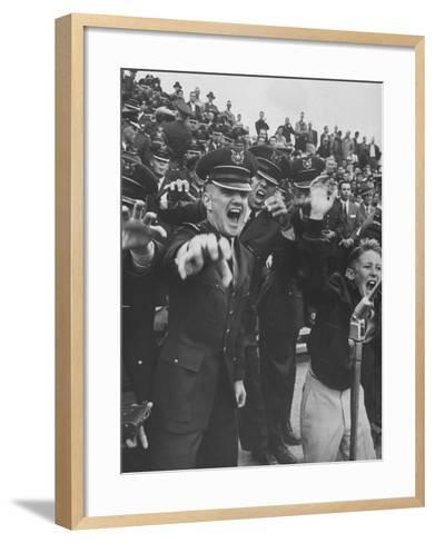 Air Force Academy Cadets Cheering During Game-Leonard Mccombe-Framed Art Print