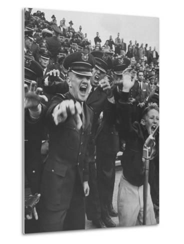 Air Force Academy Cadets Cheering During Game-Leonard Mccombe-Metal Print