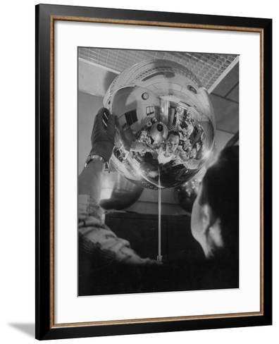 Scientist Alexander Simkovich Working on a Us Artificial Satellite-Hank Walker-Framed Art Print