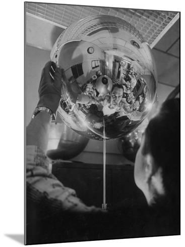 Scientist Alexander Simkovich Working on a Us Artificial Satellite-Hank Walker-Mounted Photographic Print