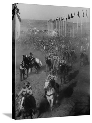 """Local Sheriff's Posse Supplying Movie-like Touch to Jamboree at the """"Avenue of Flags""""-Ed Clark-Stretched Canvas Print"""