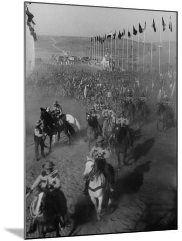 """Local Sheriff's Posse Supplying Movie-like Touch to Jamboree at the """"Avenue of Flags""""-Ed Clark-Mounted Photographic Print"""