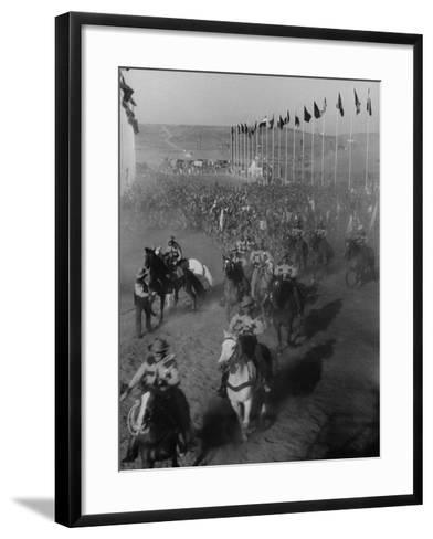 """Local Sheriff's Posse Supplying Movie-like Touch to Jamboree at the """"Avenue of Flags""""-Ed Clark-Framed Art Print"""