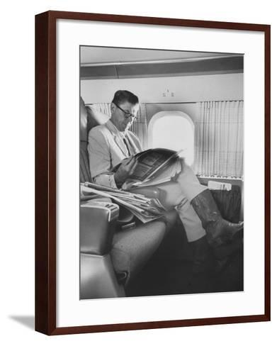 Ronald W. Reagan, Candidate for Governor of California, Traveling on Plane to Campaign in San Jose-Bill Ray-Framed Art Print