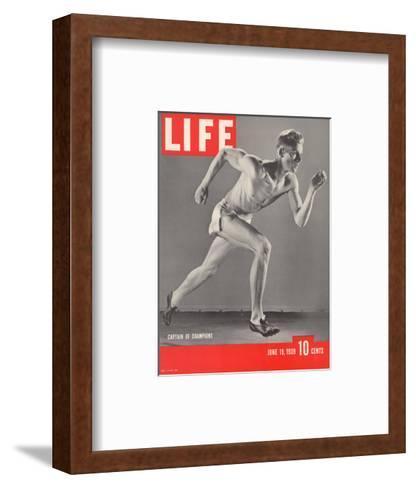 University of Southern California Track Star Payton Jordan Caught in Full Stride, June 19, 1939-Gjon Mili-Framed Art Print
