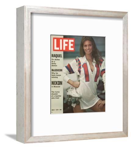 Raquel Welch in Roller Derby Uniform, June 2, 1972-Bill Eppridge-Framed Art Print