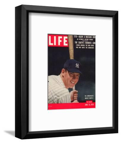 NY Yankee Slugger Mickey Mantle, June 25, 1956--Framed Art Print
