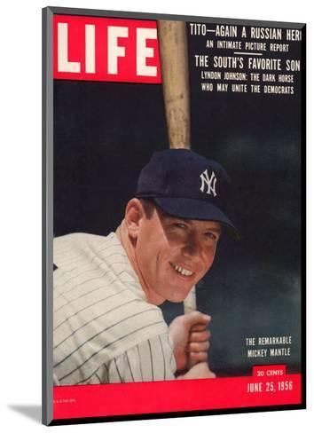 NY Yankee Slugger Mickey Mantle, June 25, 1956--Mounted Premium Photographic Print