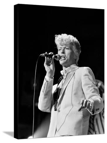Musician David Bowie Singing on Stage--Stretched Canvas Print