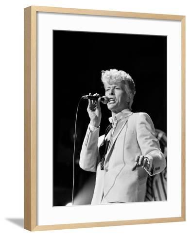 Musician David Bowie Singing on Stage--Framed Art Print