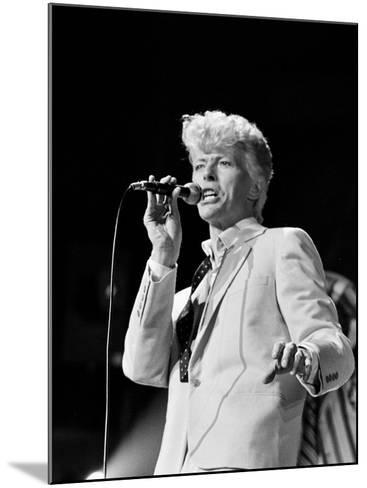 Musician David Bowie Singing on Stage--Mounted Premium Photographic Print