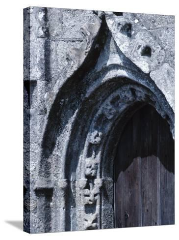 Exterior of Gray Stone Arch of Cathedral in France--Stretched Canvas Print