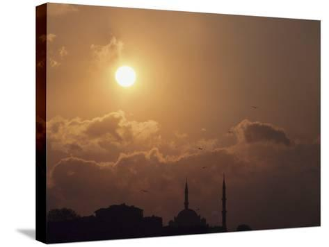 Silhouette of Steeples on Churches at Sunset in Istanbul, Turkey--Stretched Canvas Print