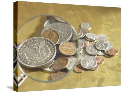 Magnifying Glass on American Coins--Stretched Canvas Print