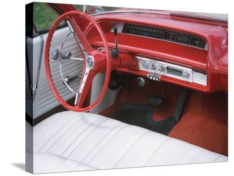 Vehicle with Antique Red Car Interior--Stretched Canvas Print
