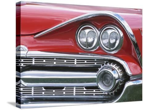 Chrome Lights on Antique Red Car--Stretched Canvas Print