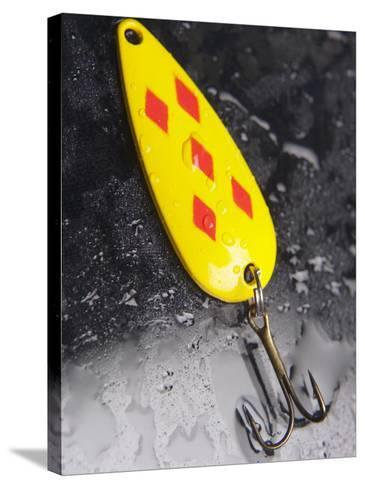 Wet Colorful Fishing Lure with Hooks--Stretched Canvas Print