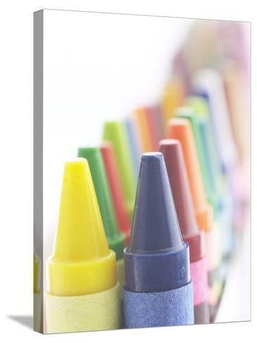 Two Lines of Pointed Wax Crayons of Various Different Colors--Stretched Canvas Print