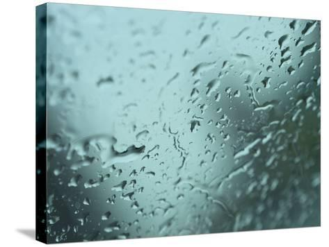 Close-Up of Design of Water Droplets on Glass Surface--Stretched Canvas Print