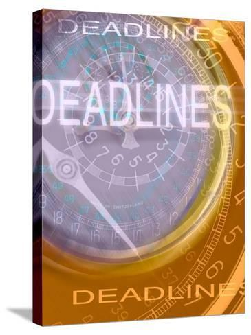 Deadlines Superimposed over Clocks--Stretched Canvas Print
