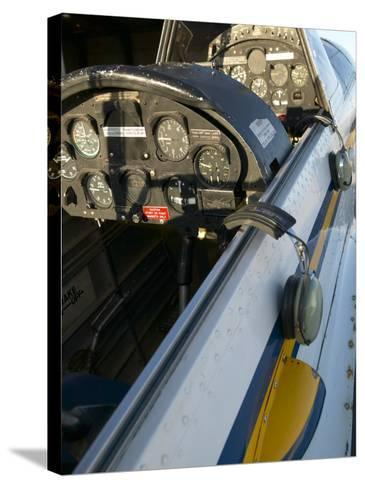 Close-Up of Airplane Cockpit--Stretched Canvas Print