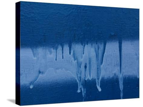Blue and White Paint Dripping Down Wall--Stretched Canvas Print