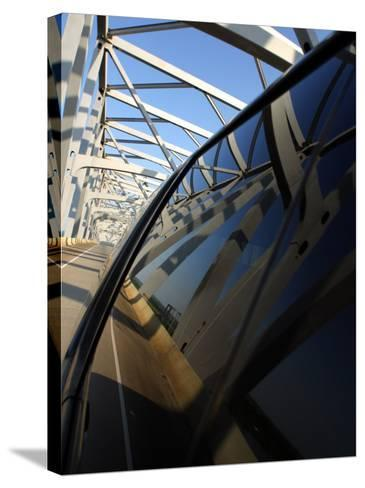 Close-Up of Reflection of Bridge on Smooth Car Window--Stretched Canvas Print