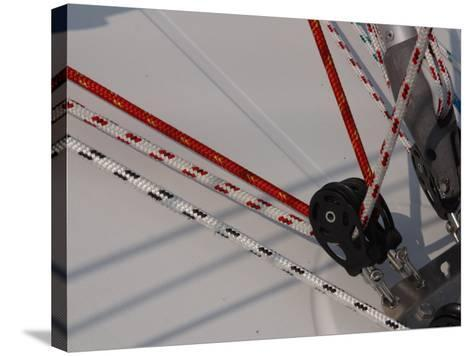Close-Up of Ropes and Pulley Used for Sailboat Rigging--Stretched Canvas Print
